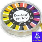pH test paper Duotest pH 1–12, with two indicator zones