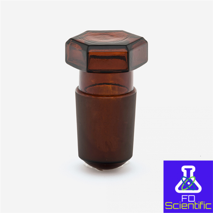 STOPPERS - hallow glass - hexagonal - amber